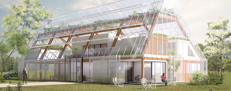 een glazen gebouw welke vormgegeven is als een stoere industriële werkschuur